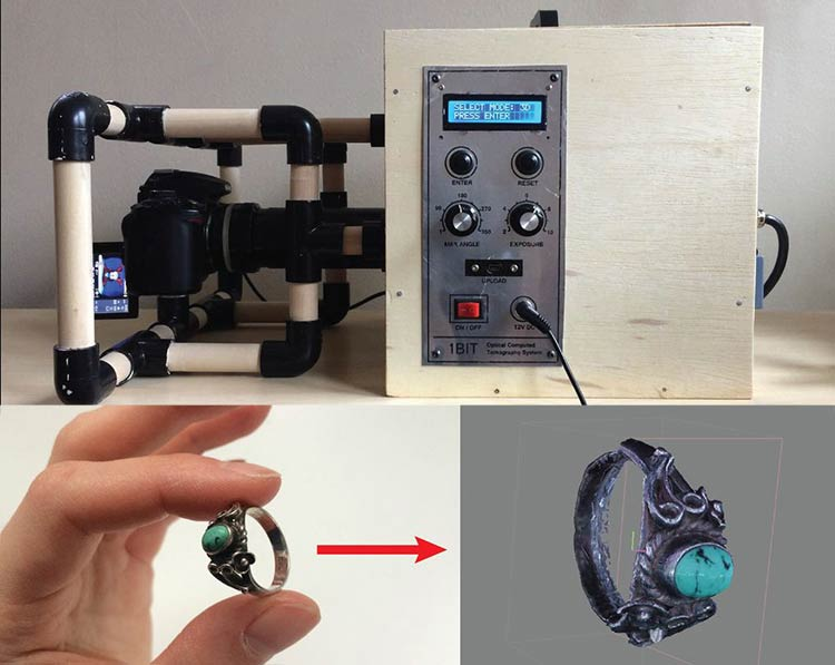 The finished 3D scanner device, a ring, and the ring's 3d model constructed with the device